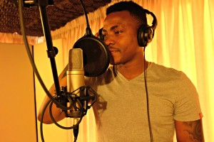 Monk Chief recording in the vocal booth
