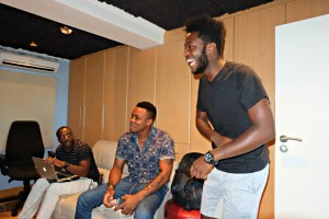 P S Quint and Monk Chief collaborating in the studio and sharing a few laughs together